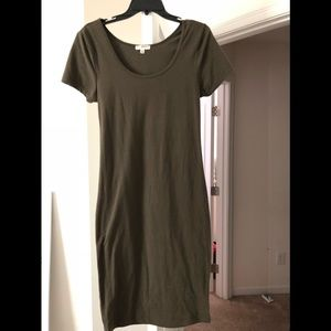 Olive Green knee length body con dress